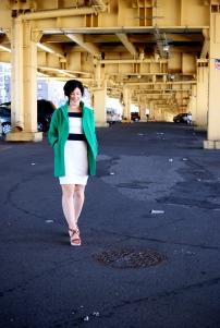 White Dress, Green Jacket